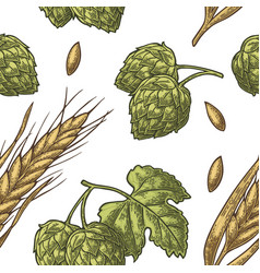 seamless pattern from hop with leaf and ear vector image