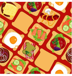 seamless pattern with sandwiches fast food top vector image