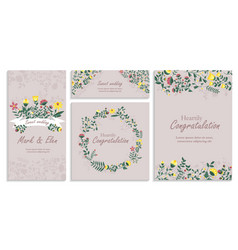 Set greeting card wirh floral decor heartily vector