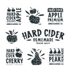 Set hard cider label and logo vector
