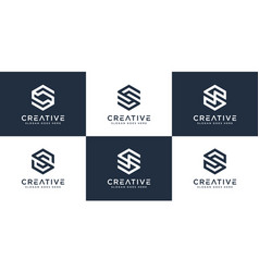 set initial letter s hexagon logo design vector image