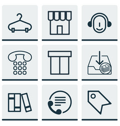 set of 9 commerce icons includes callcentre vector image