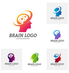 set of brain head logo template man head people vector image