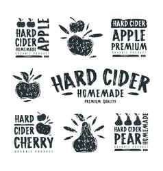 Set of hard cider label and logo vector