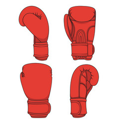 set of with red boxing gloves vector image