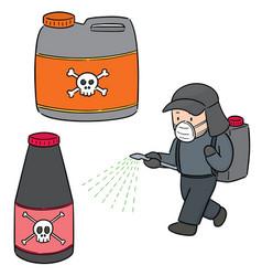 Set pesticide and farmer vector