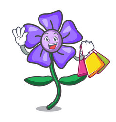 Shopping periwinkle flower character cartoon vector