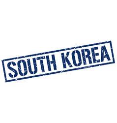 South korea blue square stamp vector