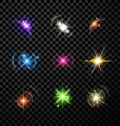 Stars and planet set background vector image