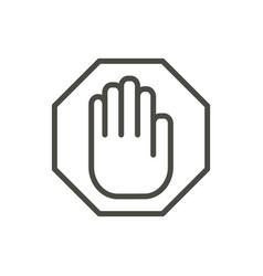 stop hand icon line warning symbol isolate vector image