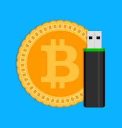 storage of crypto coins bitcoin vector image
