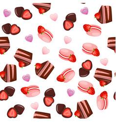Strawberry chocolate cake vector