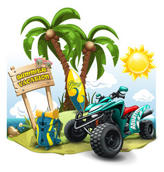 Summer composition with quad bike on green hill vector