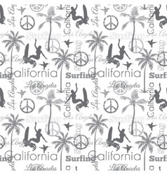 Surfing California Gray Seamless Pattern vector image