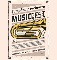 Symphonic orchestra at music fest vintage poster vector