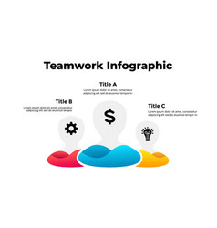 teamwork infographic with 3 men generating new vector image