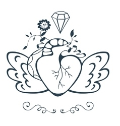 Vintage style emblem with human heart with wings vector image