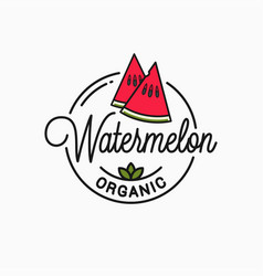 watermelon slice logo round linear vector image