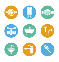 White background with set of plumbing icons in vector