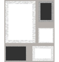 White pixel mosaic page layout border template set vector