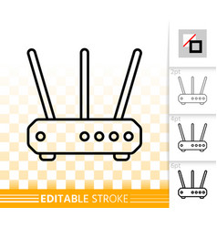 wifi router simple black line icon vector image