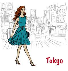Woman in tokyo vector
