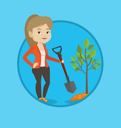 woman plants tree vector image