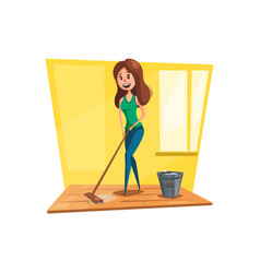 woman washing floor with mop cartoon icon vector image