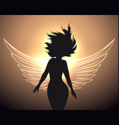 woman with angel wings vector image