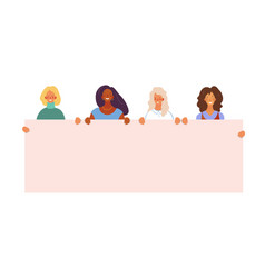 women different nationalities are holding vector image