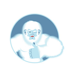 Yeti thumbs up bigfoot winks emoji abominable vector