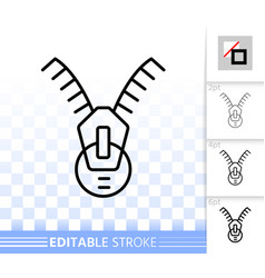 Zip fastener simple black line icon vector