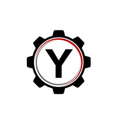 gear solution logo letter y vector image vector image