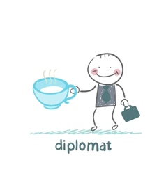 Diplomat with a cup of tea vector