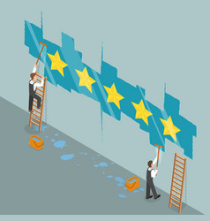 five star rating flat isometric concept vector image vector image