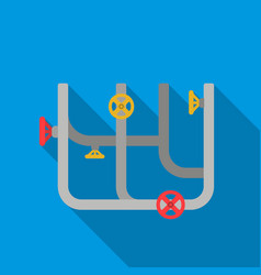 pipes with valves icon in flat style isolated on vector image vector image