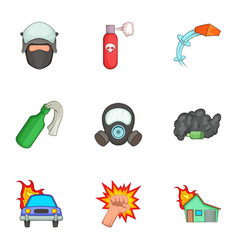 protest icons set cartoon style vector image