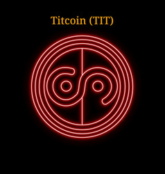 Red neon titcoin tit cryptocurrency symbol vector