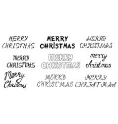 Set of hand drawn Merry christmas vector image