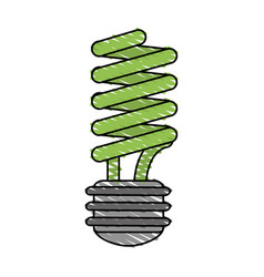 Color crayon stripe cartoon fluorescent light bulb vector