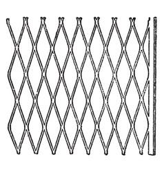 expanded metal metallic lath vintage engraving vector image vector image
