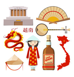 landmarks and symbols of vietnam vector image