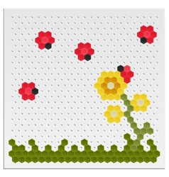 Mosaic Flowers and Ladybird vector image vector image