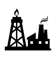 Oil rig tower and factory vector