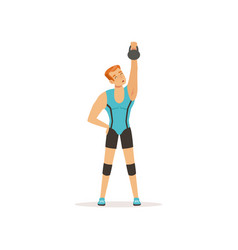 strong man lifting weight above his head muscular vector image
