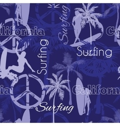 Surfing California Blue Seamless Pattern vector image vector image