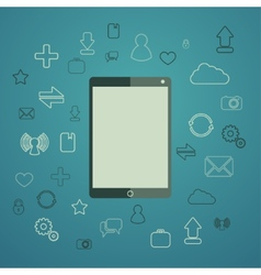 Tablet with apps vector image vector image
