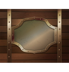 Wood background with metallic plate vector image