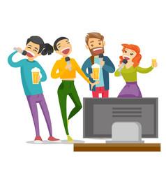 young caucasian white friends singing karaoke vector image
