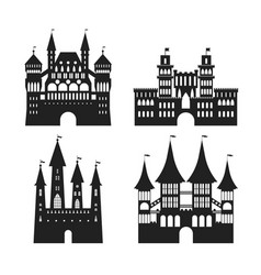 cartoon silhouette black medieval old castles icon vector image